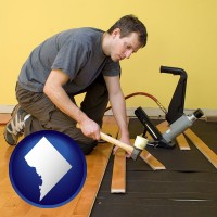 washington-dc map icon and a hardwood flooring installer