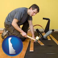 delaware map icon and a hardwood flooring installer