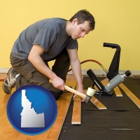 idaho map icon and a hardwood flooring installer
