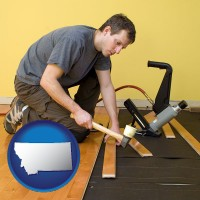 montana map icon and a hardwood flooring installer