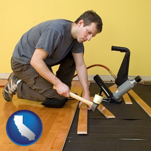 a hardwood flooring installer - with California icon