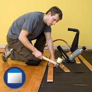 a hardwood flooring installer - with Colorado icon