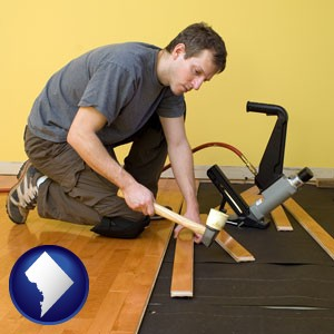 a hardwood flooring installer - with Washington, DC icon