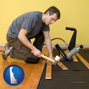 a hardwood flooring installer - with Delaware icon