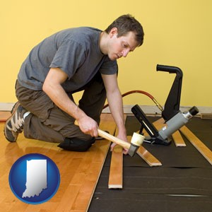 a hardwood flooring installer - with Indiana icon