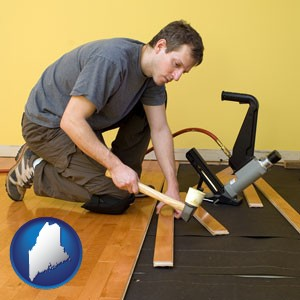 a hardwood flooring installer - with Maine icon