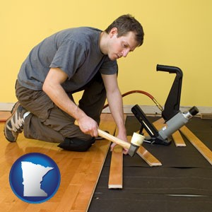 a hardwood flooring installer - with Minnesota icon