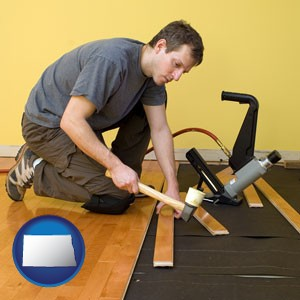 a hardwood flooring installer - with North Dakota icon