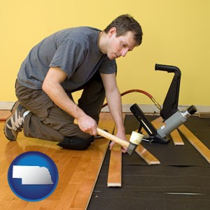 a hardwood flooring installer - with Nebraska icon