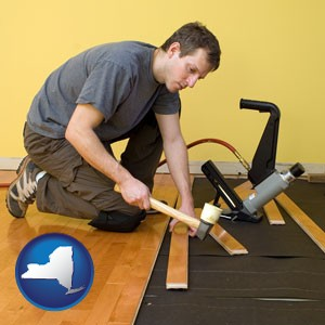 a hardwood flooring installer - with New York icon