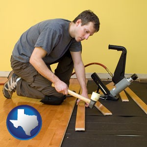 a hardwood flooring installer - with Texas icon