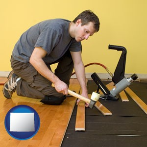 a hardwood flooring installer - with Wyoming icon